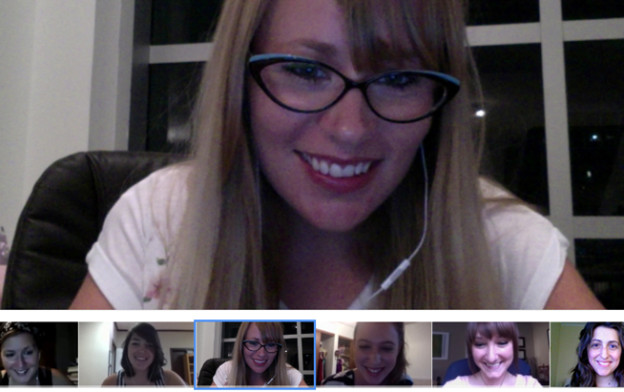 Leslie and her circle members having a meeting on Google Hangouts