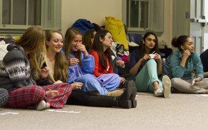 High school students at a feminist slumber party on campus. (Photo by Jing Qu)