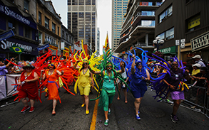 "Revelers celebrate during the"" WorldPride"" gay pride Parade in Toronto"
